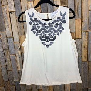 Joan Vas's tank top blouse shirt size 3 16 sequin